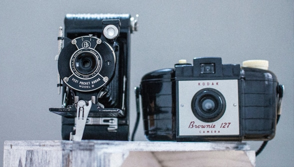 Collection of antique cameras